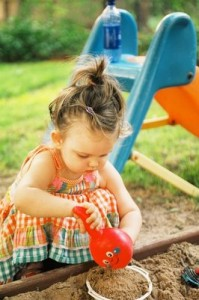 toddler girl playing
